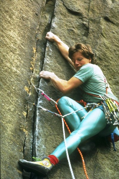 Laybacking the cracks on Zeus (5.10b) - a pic from the early 80s