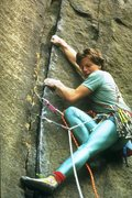 Rock Climbing Photo: Laybacking the cracks on Zeus (5.10b) - a pic from...
