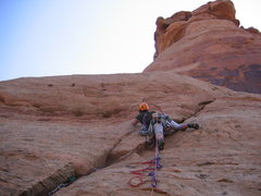 Rock Climbing Photo: Busting some free moves on the second pitch.