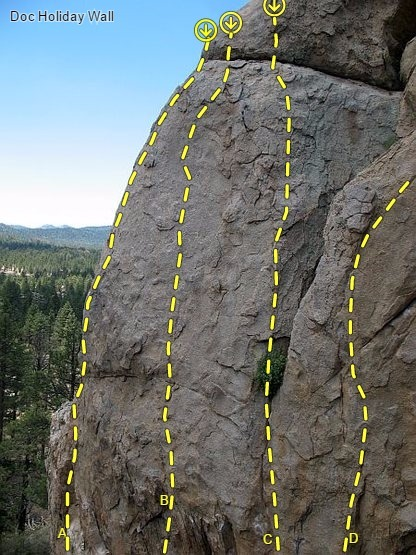 Doc Holiday Wall, Holcomb Valley Pinnacles<br> <br> A. Pistol Pete (5.10a)<br> B. Doc's Holiday (5.10d)<br> C. Unforgiven (5.11b)<br> D. Far Beyond Driven (5.10b)