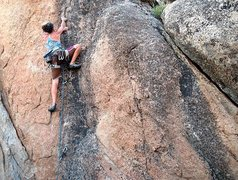 Rock Climbing Photo: Susan trying to gain another Silly Millimeter (5.1...