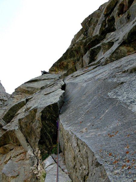 Rock Climbing Photo: The splitter second pitch.