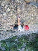 Rock Climbing Photo: Rich Farnham seconding the first pitch on the FA.