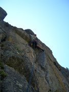 Rock Climbing Photo: Rich Farnham leading the second pitch on the FA.