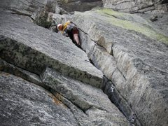 Rock Climbing Photo: Chuck nearing the top of the infamous p2 mummy cra...