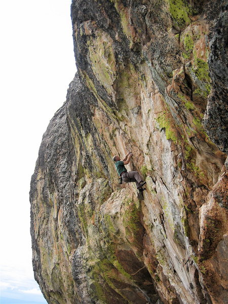 Rock Climbing Photo: The start of the upper crux which is pretty much t...