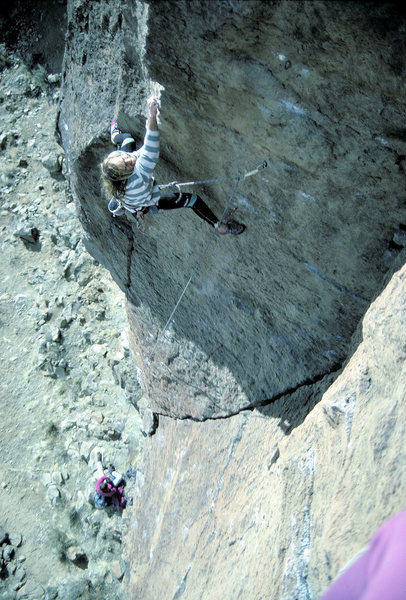 Rock Climbing Photo: Peter Gram on an early ascent of the route in Dece...