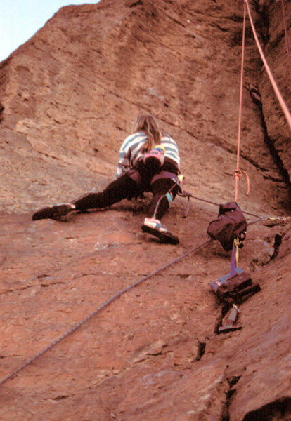 Another view of Peter on the FA, bolting on lead. This is after the first bolt but before the second bolt. Photo taken by Cam Burns, [[105973771]]