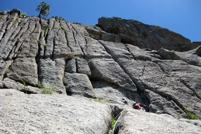 If you go right instead of left at the top of the second pitch, you get 2-3 more pitches of fun crack climbing.