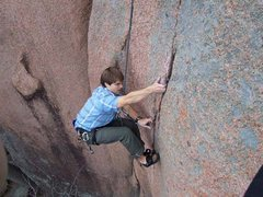 Rock Climbing Photo: Ben trying hard not to swing off the laybacks on S...