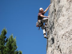"Rock Climbing Photo: Enjoying the pockets on ""the Devil Wears Spur..."