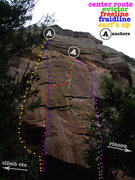 Rock Climbing Photo: Topo to aid the confusion of shared starts, anchor...