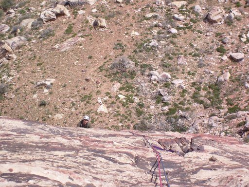 Ryan Stefan at the pitch 1 belay.  Also shows where the last gear (small cam) is for about 50 feet.