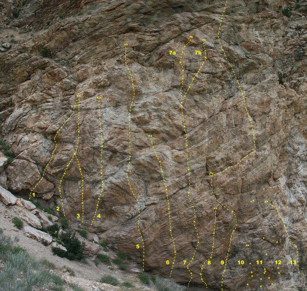 Rock Climbing Photo: AC/DC Wall, up the gully from the black streaks.  ...
