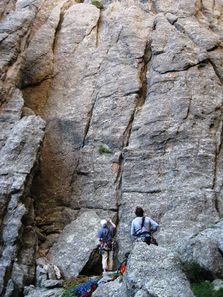 """Is this it???  I didn't really want to """"climb"""" that dirty gulley over to the left to the belay ledge...  Photo Aaron Costello."""