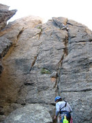 Rock Climbing Photo: Trying to figure out how to best traverse over to ...