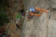 Rock Climbing Photo: Darek nearing the second crux.