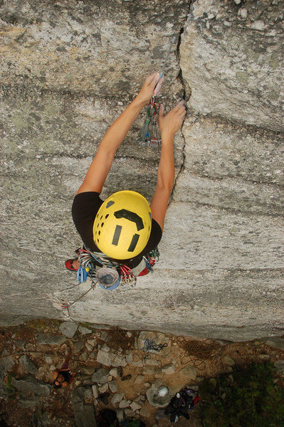 Rock Climbing Photo: Getting in pro above the cruxes.