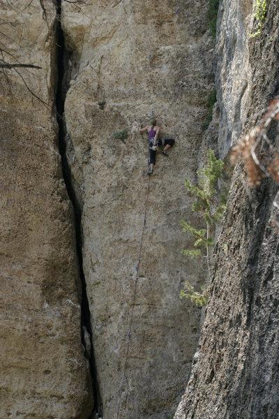 Rock Climbing Photo: Sasha, midway.