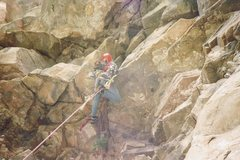 Rock Climbing Photo: The first roof off the deck; this route is still w...