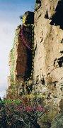 Rock Climbing Photo: Our Typhoon Rhythm leaves corner via obvious flake...