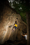Rock Climbing Photo: Chris working on Double Dick Dyno on the Nine Live...