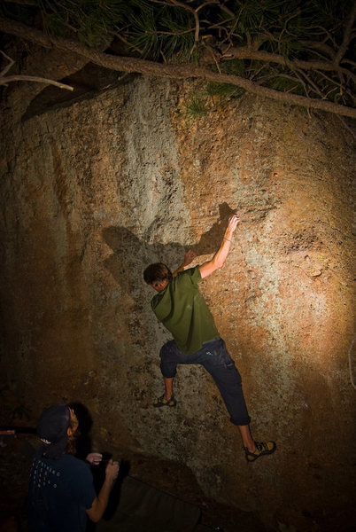 Rock Climbing Photo: Steve showing us the opening moves of the problem....