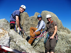 Rock Climbing Photo: Aaron, Jay, and I at the summit of Spire 2, with 3...