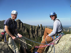Rock Climbing Photo: Jay and I at the summit of Spire 2, picket fence i...