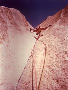 Rock Climbing Photo: Greg Hand leading Astroman enduro pitch, 1987.