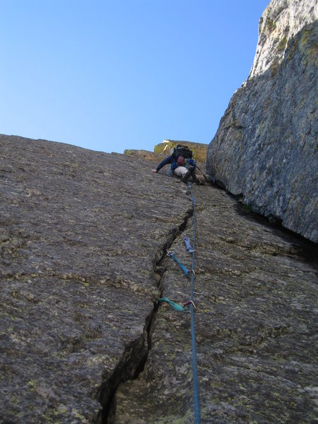 Second, FANTASTIC pitch of the Great Dihedral Route on the First Buttress of Hallett Peak. All three initial pitches were great, but this one made the climb!