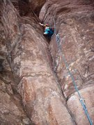 """Rock Climbing Photo: Felicia Terry - warming up on """"first born&quo..."""