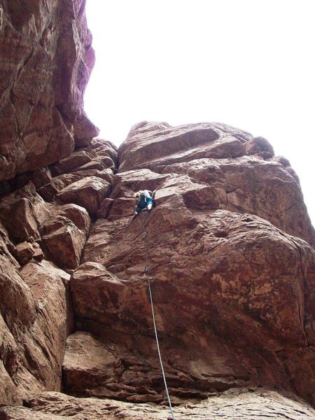 Bouldery start, multiple roofs, crack underclings, pockets.  Welcome to QC!<br> <br> Photo of Felicia Terry