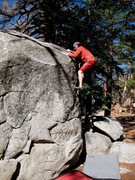 Rock Climbing Photo: Topping out on Blind Hog (V1), Tramway.