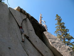 Rock Climbing Photo: In the pod on Ride the Lightning (V0- R), Tramway