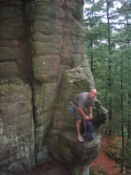 Rock Climbing Photo: This is the bottom of the route.  It took us a lit...