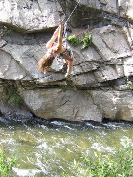 Rock Climbing Photo: sarah making it across