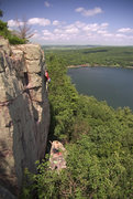 Rock Climbing Photo: Devils Lake. Isaac Therneau on Wild West Homo on a...