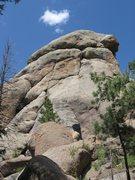 Rock Climbing Photo: Pitch 1 following the broken blocks.  2-bolt ancho...