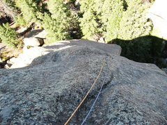 Rock Climbing Photo: Looking down the runout friction slab.