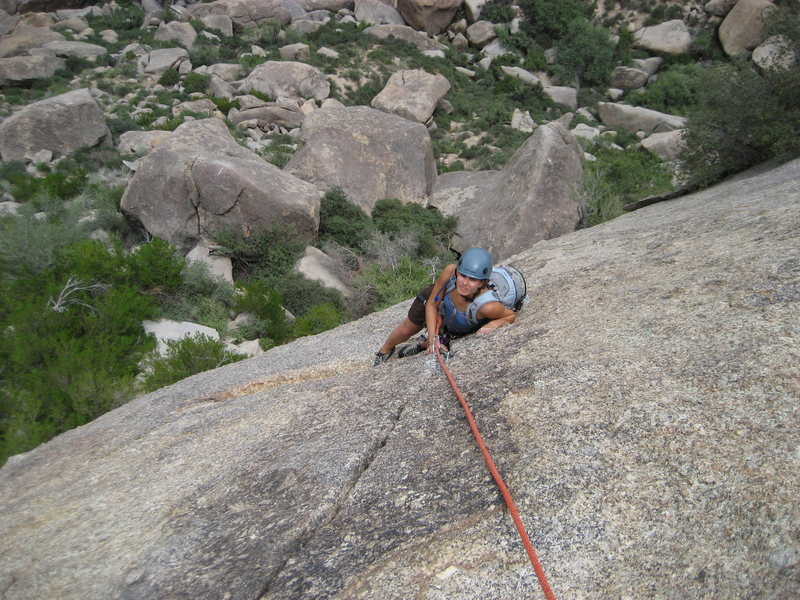 Rock Climbing Photo: Evelyn finishing up the first pitch
