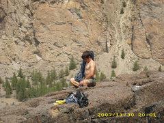 Rock Climbing Photo: Michael prepares.