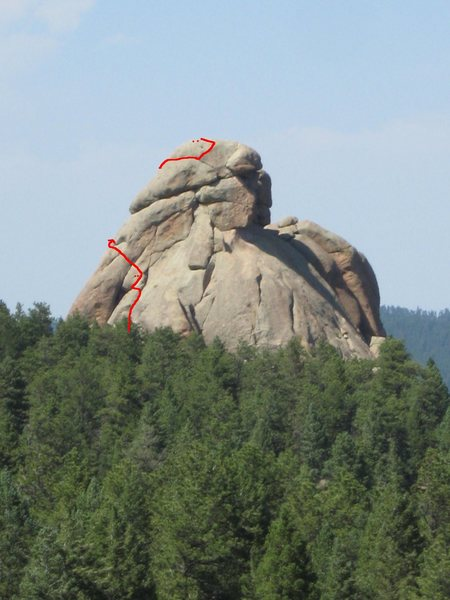 Rock Climbing Photo: Route visible from South Noddle Head.  Anchors sho...