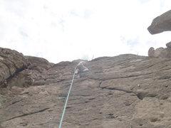 Rock Climbing Photo: Crissy near the top of Mondo Freako