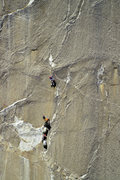 Rock Climbing Photo: One of the endless hanging belays.  Photo by Tom E...