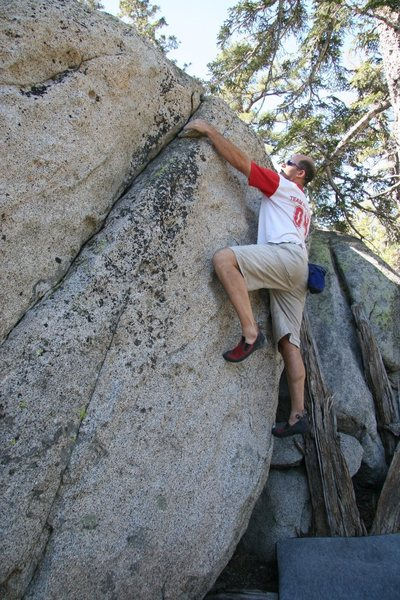Rock Climbing Photo: Reaching the nice sidepulls at the top of Cassieop...