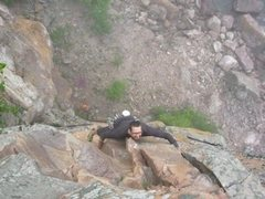 Rock Climbing Photo: Nearing the end of Gunfight where you can get a go...