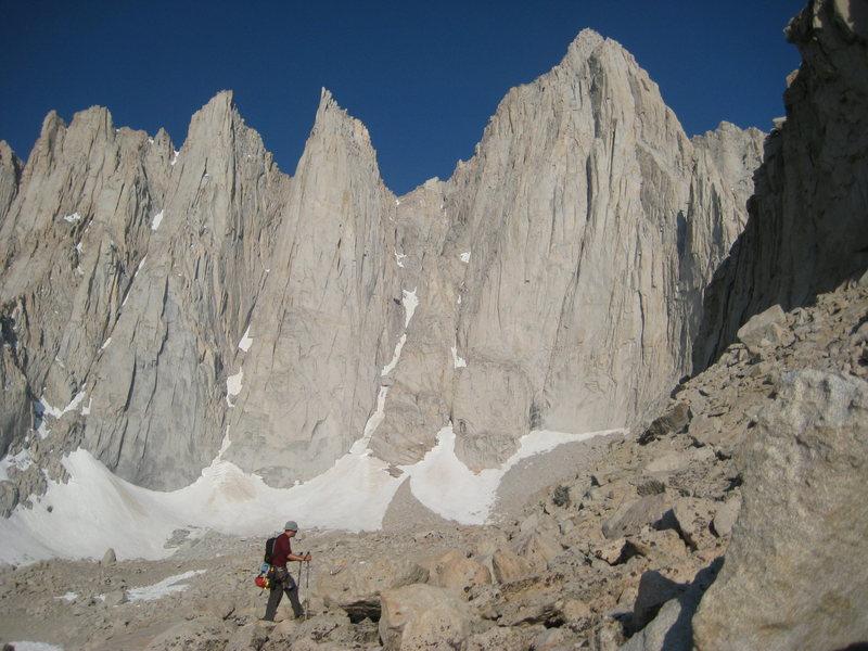 Rock Climbing Photo: Duke on the approach nearing Iceberg Lake with Kee...