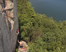 Rock Climbing Photo: Devils Lake. Wild West Homo -- starting moves. It'...
