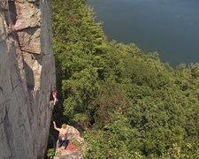 Rock Climbing Photo: Devils Lake. Wild West Homo -- starting moves. It'...
